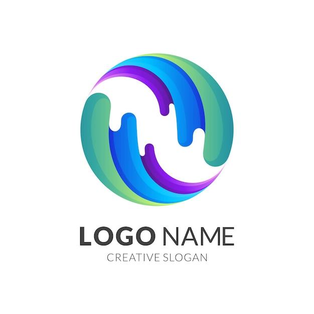 Logo świata Wody, Kula Ziemska I Woda, Logo Kombinacji W Kolorowym Stylu Premium Wektorów