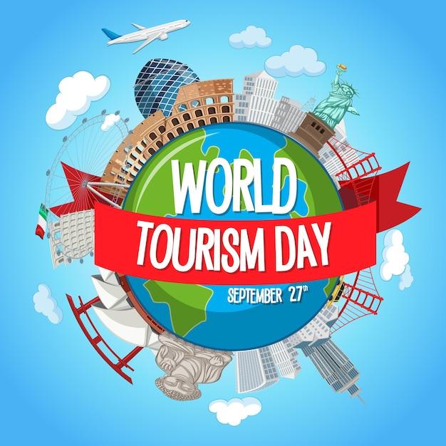 Logo światowego Dnia Turystyki Z Elementami Słynnych Atrakcji Turystycznych Premium Wektorów
