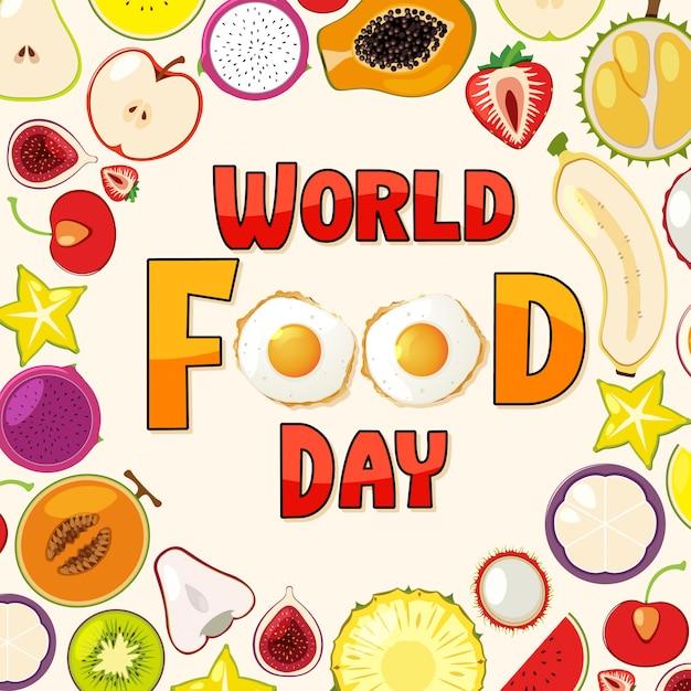 Logo światowego Dnia żywności Z Motywem Owoców Premium Wektorów