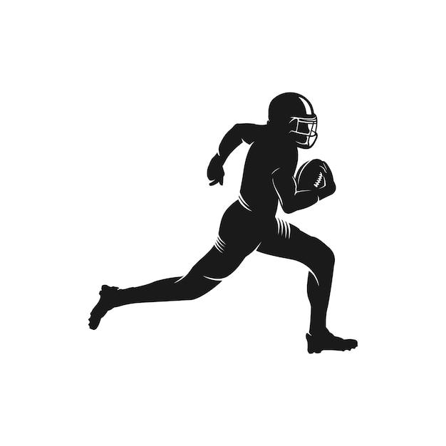 Logo sylwetka gracza futbolu amerykańskiego Premium Wektorów