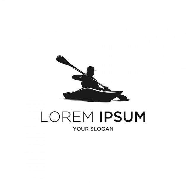 Logo Sylwetka Kajak Rzeczny Premium Wektorów