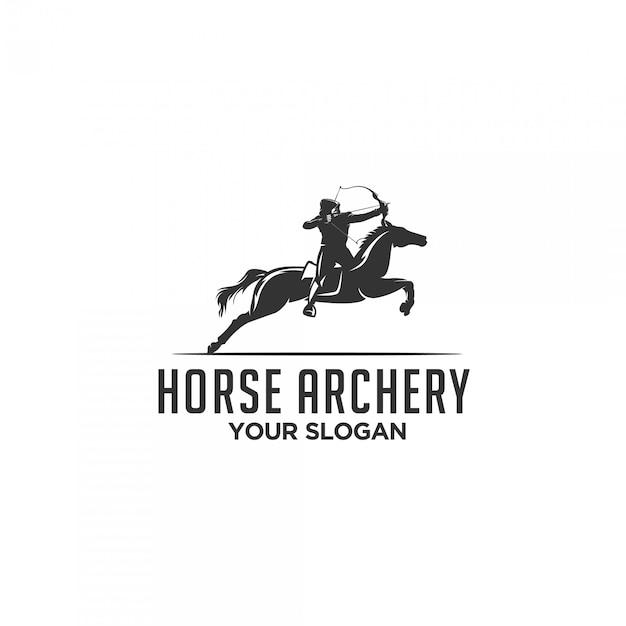 Logo Sylwetka łucznictwo Konia Premium Wektorów