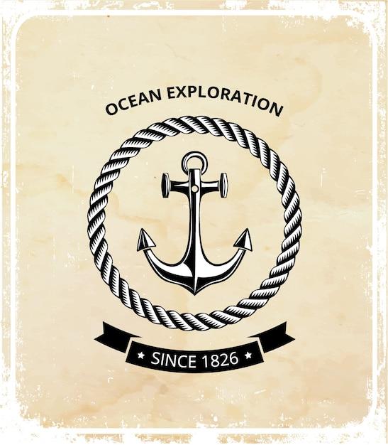 Logo Symboli Morskich - Kotwica Z Liną I Czarną Wstążką Na Tekst. Premium Wektorów
