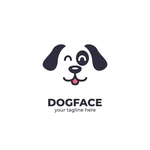 Logo szczęśliwy pies twarz Premium Wektorów