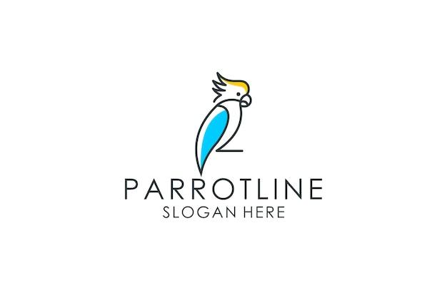 Logo sztuki linii papugi Premium Wektorów