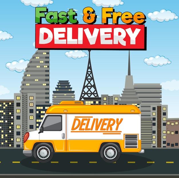 Logo Szybkiej I Bezpłatnej Dostawy Z Samochodem Dostawczym Lub Ciężarówką W Mieście Darmowych Wektorów