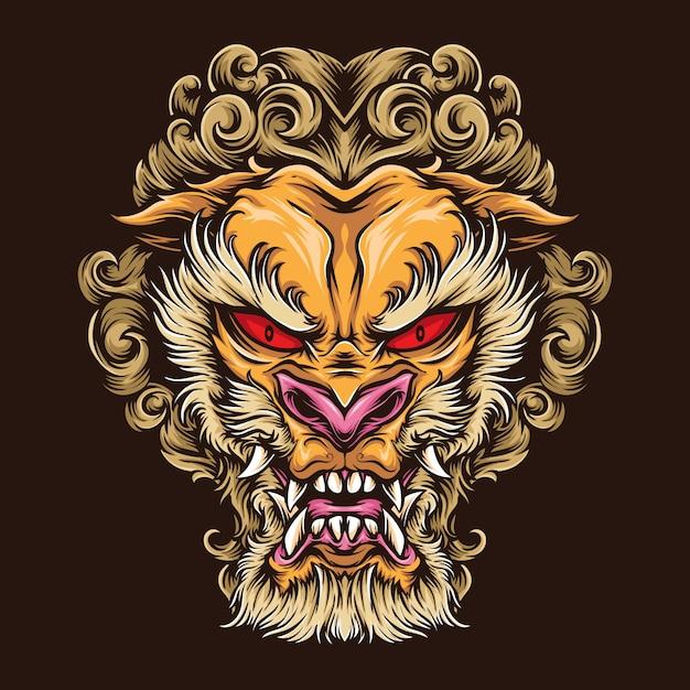 Logo Tatuaż Japońskiego Lwa Premium Wektorów
