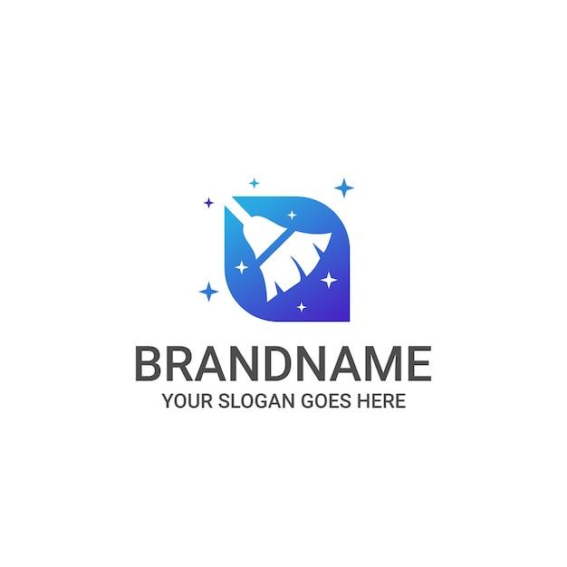 Logo Usługi Sprzątania Domu Premium Wektorów