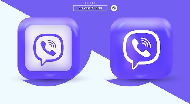 Logo Viber W Nowoczesnym Placu Dla Ikon Mediów Społecznościowych Premium Wektorów