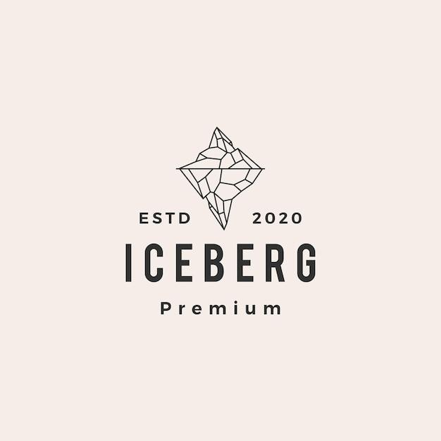 Logo Vintage Hipster Lodowej Berg Premium Wektorów