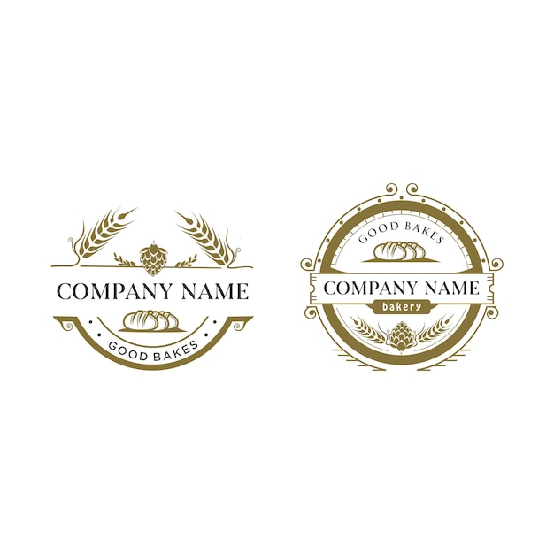 Logo vintage piekarni Premium Wektorów