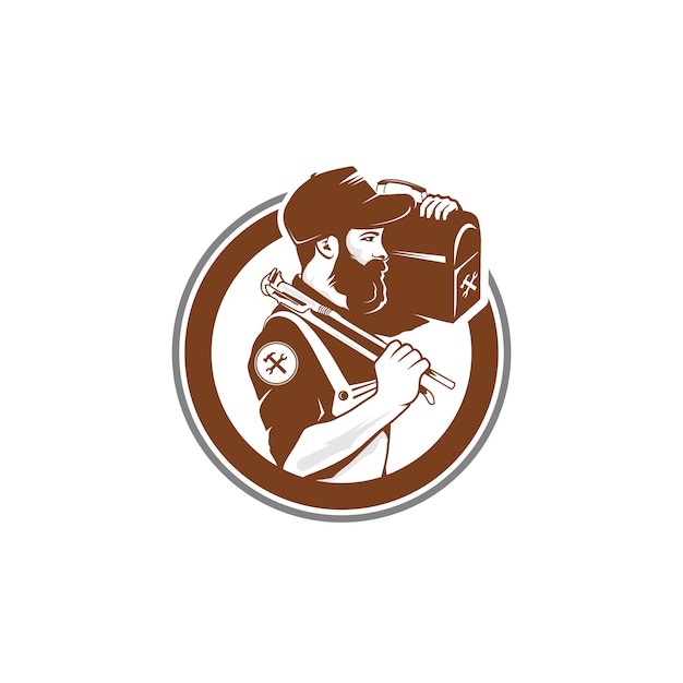Logo Vintage Workman Premium Wektorów