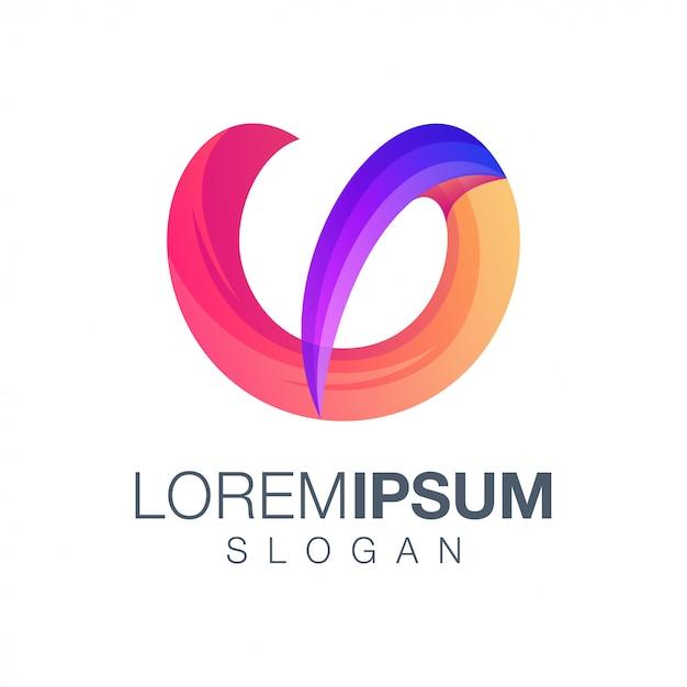 Logo w kolorze gradientu litery u. Premium Wektorów
