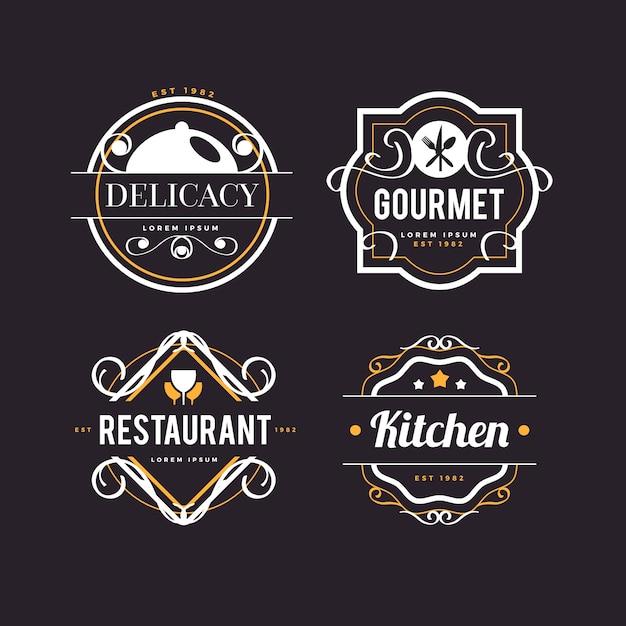 Logo W Stylu Retro Dla Restauracji Darmowych Wektorów