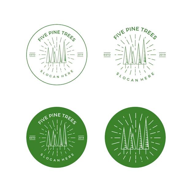 Logo wektor sosny godło Premium Wektorów