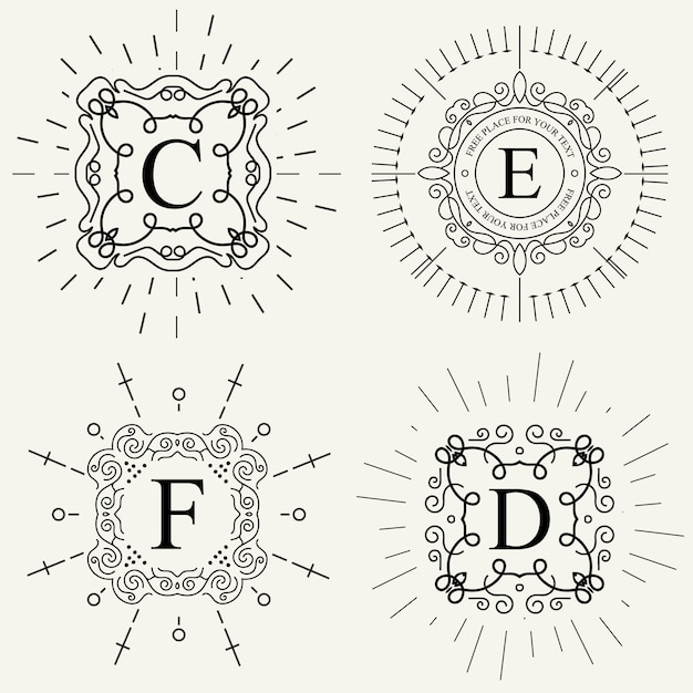 Logo wektor wzór monogram. Premium Wektorów