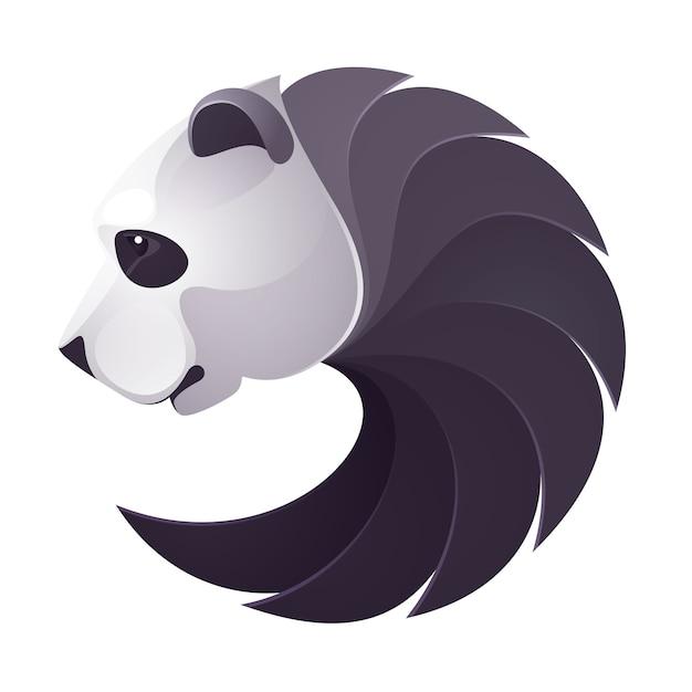 Logo Wielkości Głowy Misia Pandy. Elementy Szablonu Projektu Zwierząt Dla Twojej Tożsamości Korporacyjnej Lub Marki Zespołu Sportowego. Premium Wektorów