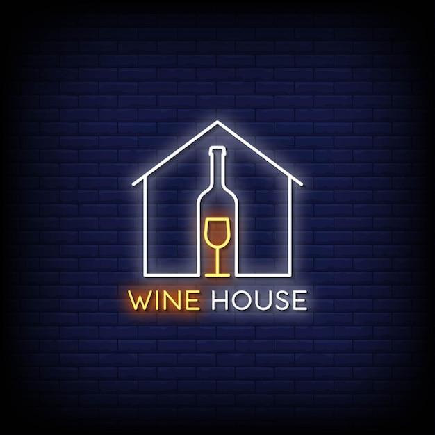 Logo Wine House Tekst W Stylu Neonów Premium Wektorów