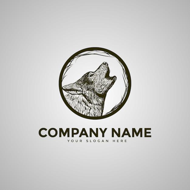 Logo Wolf Moon Premium Wektorów