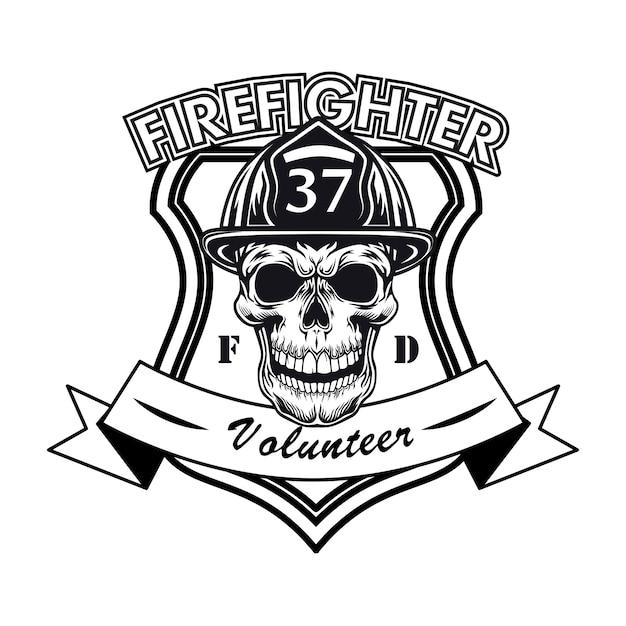 Logo Wolontariusza Strażaka Z Ilustracji Wektorowych Czaszki. Głowa Postaci W Hełmie Z Numerem I Próbką Tekstu Darmowych Wektorów