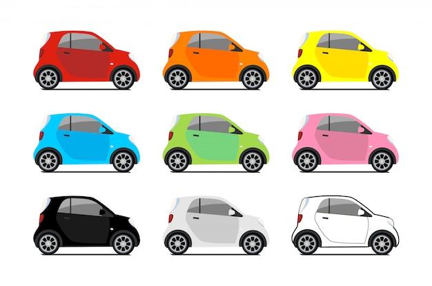 Logo Współdzielenia Samochodu, Wektor Zestaw Mikro Samochodów Miejskich. Ikony Pojazdu Ekologicznego Na Białym Tle Biały Premium Wektorów