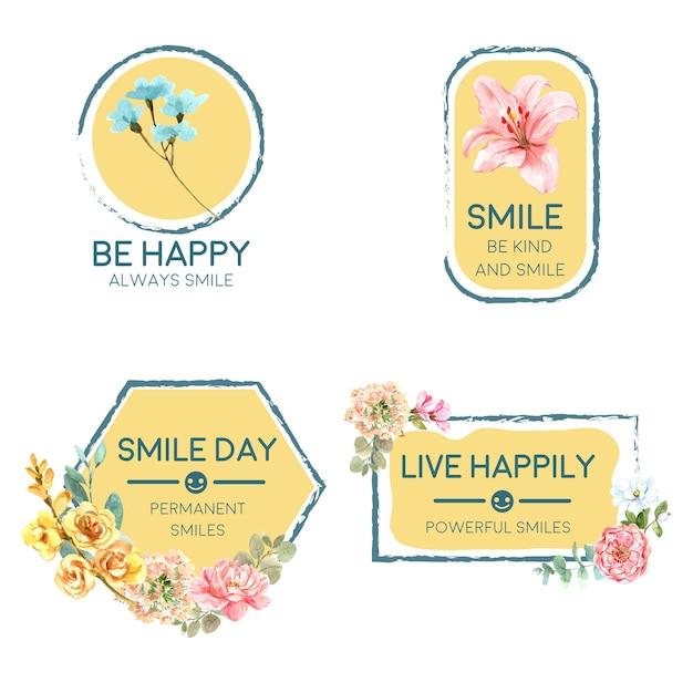 Logo Z Bukietem Kwiatów Dla Koncepcji światowego Dnia Uśmiechu Do Brandingu I Marketingu Ilustraion Wektor Akwarela. Darmowych Wektorów