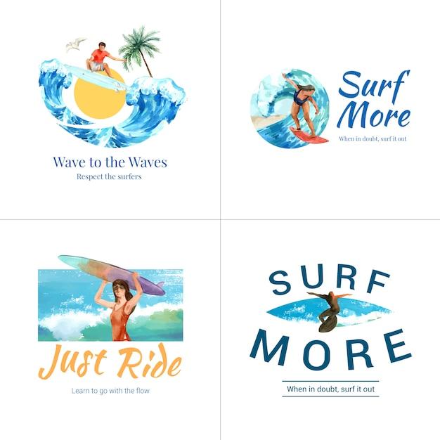 Logo Z Deskami Surfingowymi Na Plaży Darmowych Wektorów