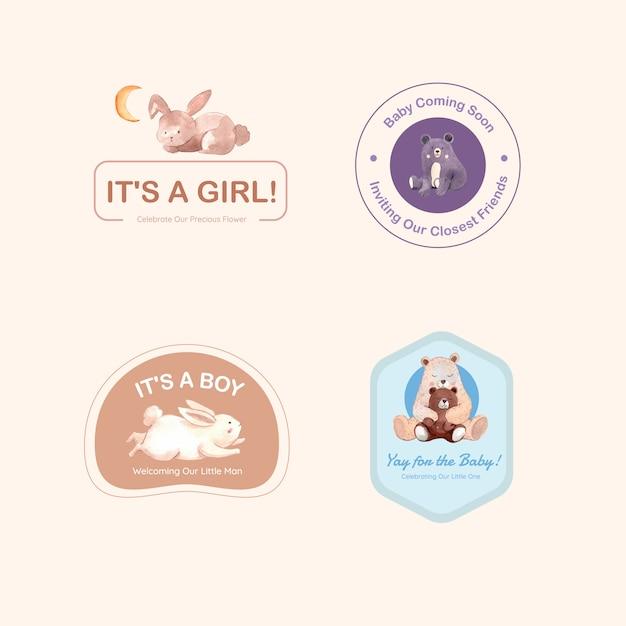 Logo Z Koncepcją Projektu Baby Shower Dla Marki I Marketingu Ilustracji Wektorowych Akwarela. Darmowych Wektorów