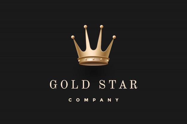Logo z koroną króla i napisem gold star company Premium Wektorów