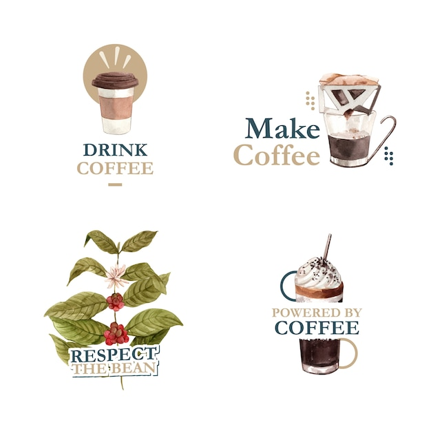 Logo Z Międzynarodowym Projektem Koncepcyjnym Dnia Kawy Dla Brandingu I Marketingu Akwareli Darmowych Wektorów