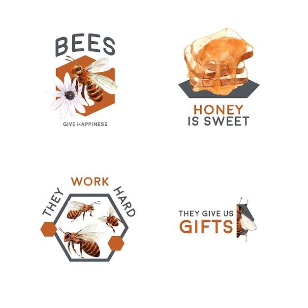 Logo Z Miodem Do Brandingu I Marketingu Akwareli Darmowych Wektorów