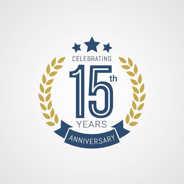 Logo Z Okazji 15-lecia W Złotym I Niebieskim Stylu Premium Wektorów