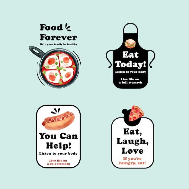 Logo Z Projektem Koncepcyjnym światowego Dnia żywności Dla Restauracji I Brandingu Akwareli Darmowych Wektorów
