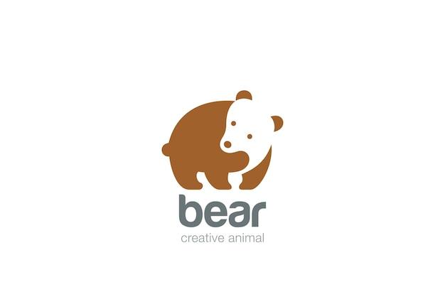 Logo Zabawnego Niedźwiedzia. Negatywny Styl Przestrzeni. Darmowych Wektorów