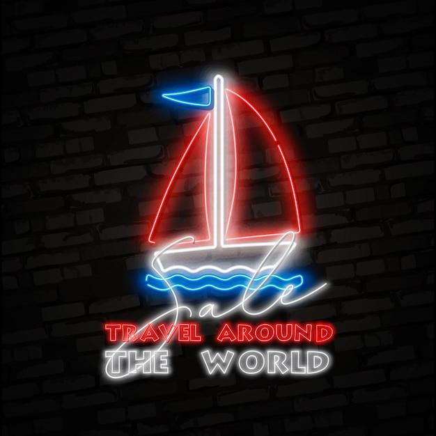 Logo żaglówka, jacht, statek. Premium Wektorów