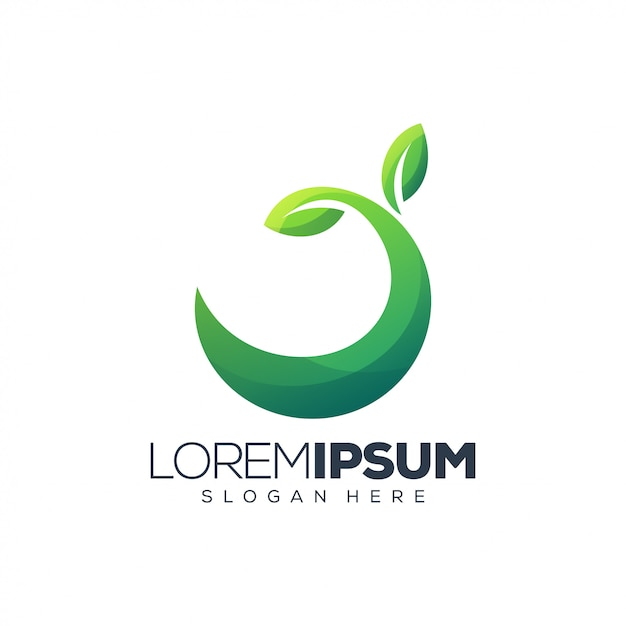Logo zielony liść Premium Wektorów