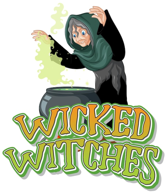 Logo Złych Czarownic Na Białym Tle Darmowych Wektorów