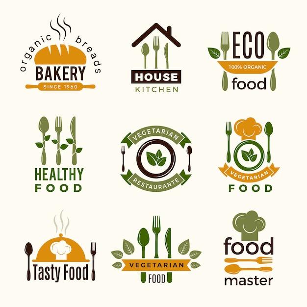 Logo żywności. zdrowe budynki restauracji w kuchni gotujące symbole łyżki i widelca do projektów Premium Wektorów