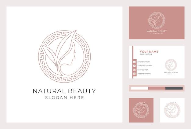 Logotyp Naturalnego Piękna Z Szablonu Wizytówki. Premium Wektorów