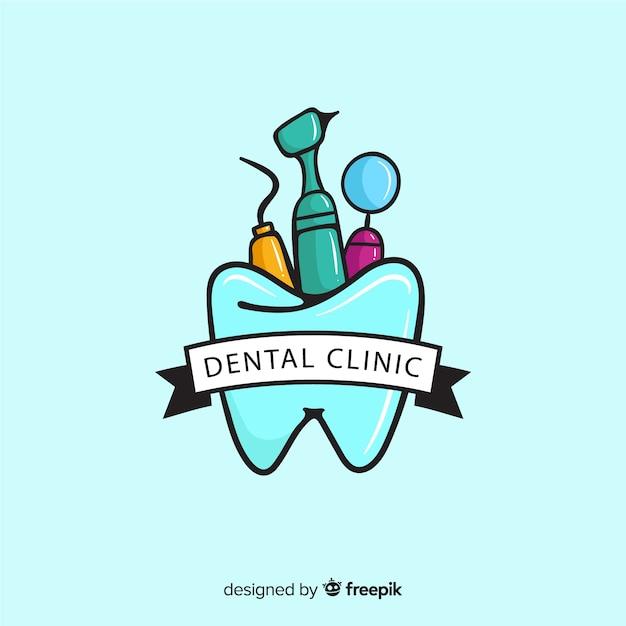 Logotyp płaskiej kliniki dentystycznej Darmowych Wektorów