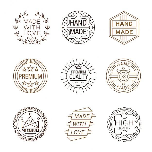 Logotypy W Stylu Retro, Ręcznie Wykonane Premium Wektorów