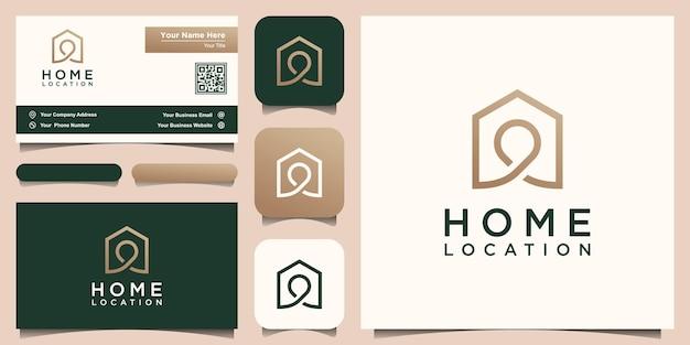 Lokalizacja Domu Projekty Logo Szablon, Dom Połączony Z Mapami Pinowymi. Premium Wektorów