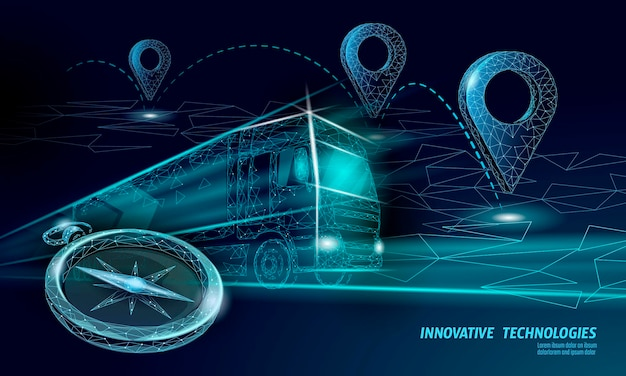Lokalizacja Punktu Mapy 3d. Realistyczna Wielokątna Dostawa Na Całym świecie Samochód Ciężarowy. Wysyłka Pinezki Kierunku Zakupów Online. Premium Wektorów