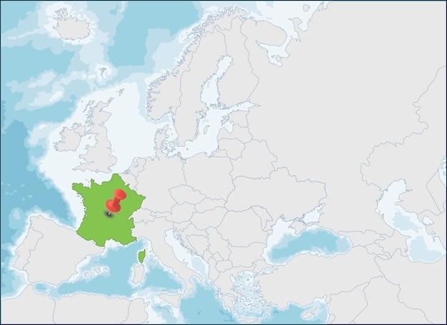 Lokalizacja Republiki Francuskiej Na Mapie Europy Premium Wektorów