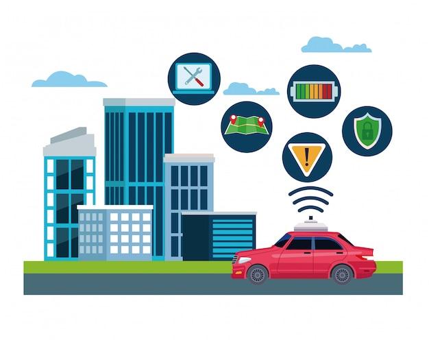 Lokalizacja serwisu samochodów taxi Darmowych Wektorów
