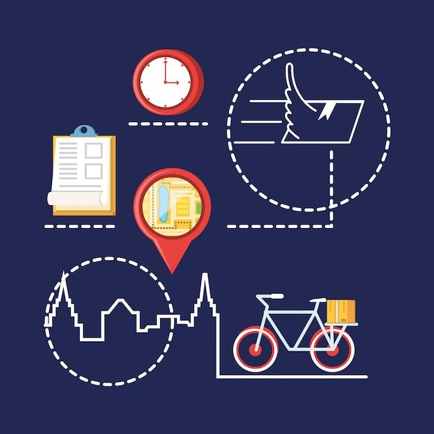 Lokalizacja wskaźnika z obiektami usług logistycznych Premium Wektorów