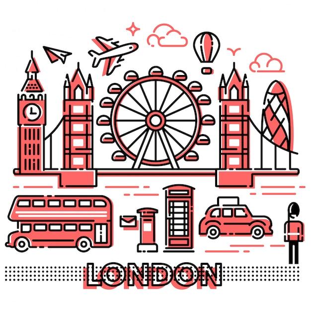 London city landscape nowoczesne linie Premium Wektorów