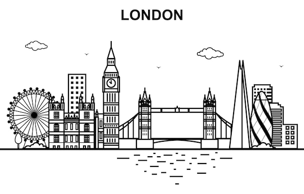 London city tour cityscape skyline line outline Premium Wektorów