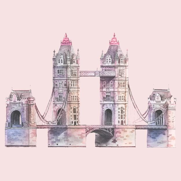 London tower bridge namalowany akwarelą Darmowych Wektorów