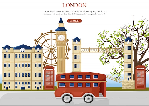 London Travel Bus Premium Wektorów